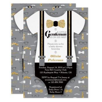 Little Man Baby Shower Invitation, Faux Glitter Invitation