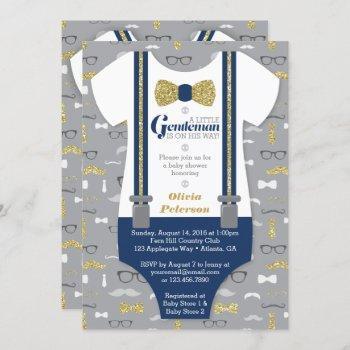 Little Man Baby Shower Invitation, Faux Glitter Invitation