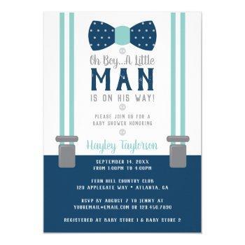Little Man Baby Shower Invitation, Navy Blue, Aqua Invitation