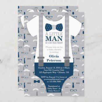 Little Man Baby Shower Invitation, Navy Blue, Gray Invitation