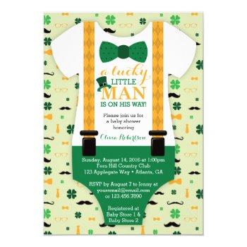 Little Man Baby Shower Invitation, St Patricks Day Invitation