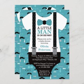 Little Man Baby Shower Invitation, Teal, Black Invitation