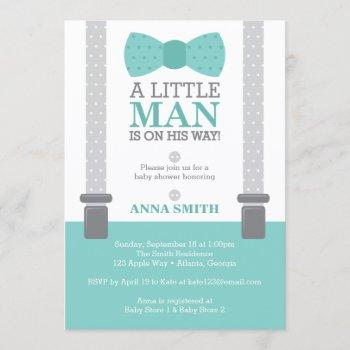 Little Man Baby Shower Invitation, Teal Blue, Gray Invitation