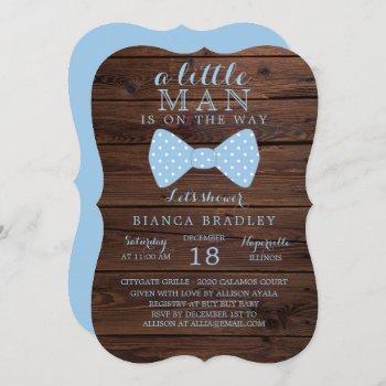 Little Man Baby Shower Invitation | Wood Bow Tie
