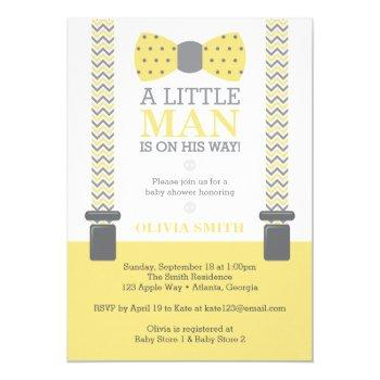 Little Man Baby Shower Invitation, Yellow, Gray Invitation