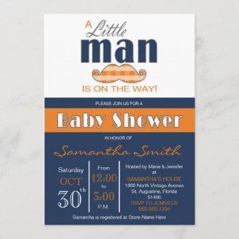 Little Man Baby Shower Navy Blue And Orange