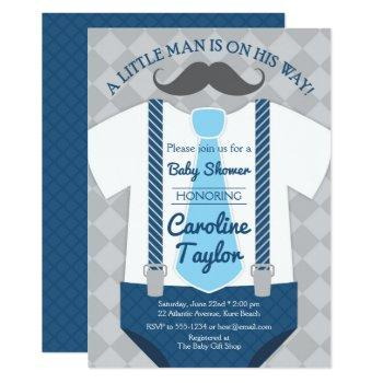 Little Man Baby Shower Outfit Invitation