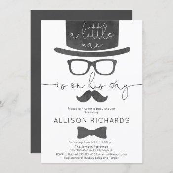 Little Man Boy Baby Shower Invitation