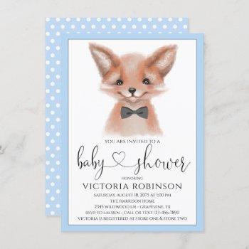 Little Man Boy Woodland Fox Baby Shower Invitation