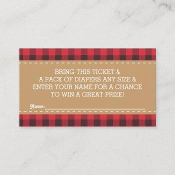 Little Man Diaper Raffle Ticket, Lumberjack Enclosure Card
