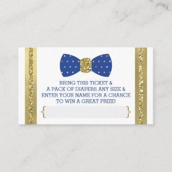 Little Man Diaper Raffle Ticket, Royal Blue, Gold Enclosure Card