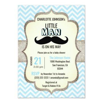 Little Man Is On His Way | Mustache Baby Shower Invitation