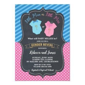 Little Man Or Little Miss Baby Gender Reveal Invitation