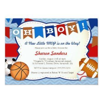 *little Mvp* Sports Themed Baby Shower Invitation