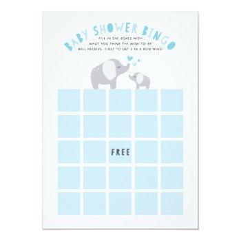 Little Peanut Elephant Baby Shower Bingo Game Blue Invitation
