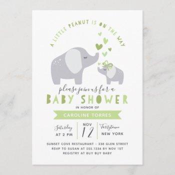 Little Peanut Elephant | Baby Shower | Green