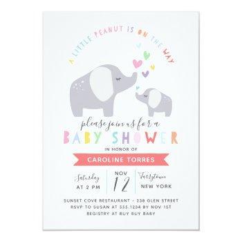 Little Peanut Elephant | Baby Shower | Rainbow Invitation