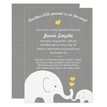 Little Peanut Yellow Elephant Baby Shower Sprinkle Invitation