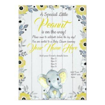 Little Peanut Yellow Rustic Baby Shower Invitation