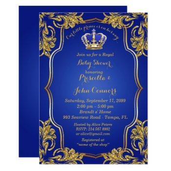 Little Prince Baby Shower Invitation, Gold, Blue Invitation