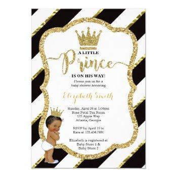 Little Prince Baby Shower Invite, Faux Glitter Invitation
