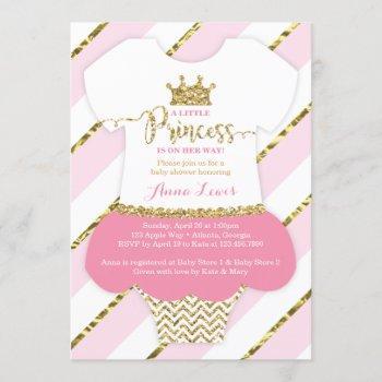 Little Princess Baby Shower Invite, Faux Glitter