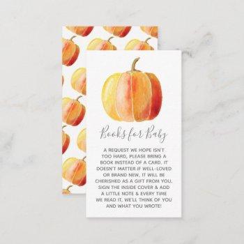 Little Pumpkin Baby Shower Book Request Enclosure Card