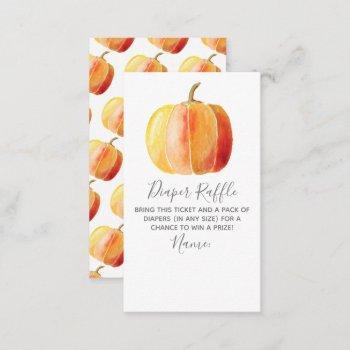 Little Pumpkin Baby Shower Diaper Raffle Enclosure Card