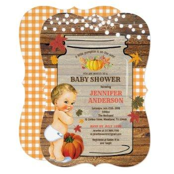 Little Pumpkin Baby Shower Invitation Rustic Fall