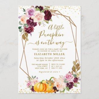 Little Pumpkin Berry Fall Floral Baby Shower Invitation