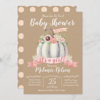 Little Pumpkin Fall Baby Shower Invitation Girl