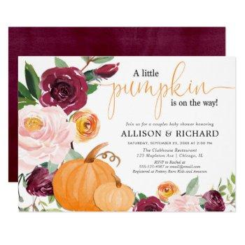 Little Pumpkin Fall Couples Baby Shower Invitation