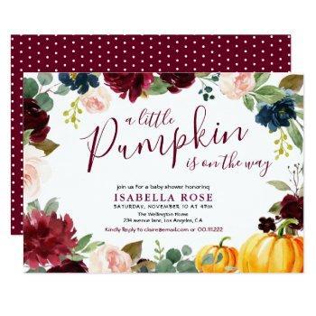 Little Pumpkin Floral Baby Shower Invitation