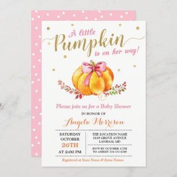Little Pumpkin Girl Gold Pink Fall Baby Shower