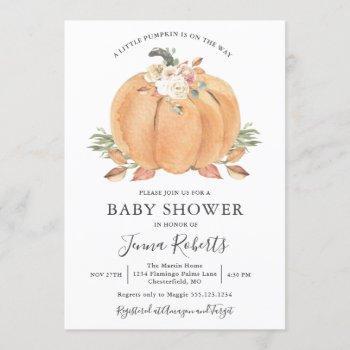 Little Pumpkin On The Way Baby Shower Invitation