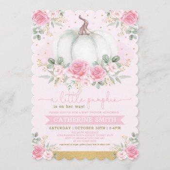 Little Pumpkin Pink Gold Floral Fall Baby Shower