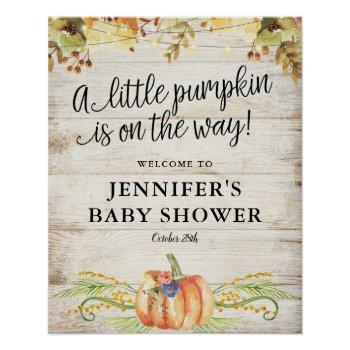 Little Pumpkin Rustic Fall Baby Shower Welcome Poster
