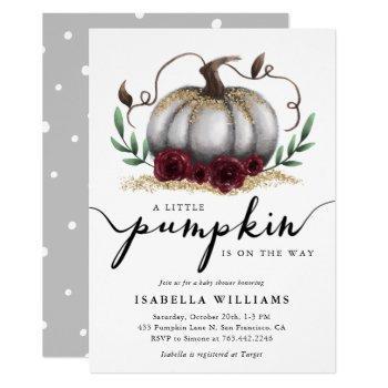 Little Pumpkin Rustic White Gold Baby Shower Invitation