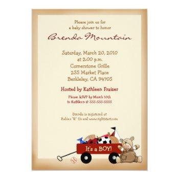 Little Red Wagon Sports Theme Boy Baby Shower Invitation