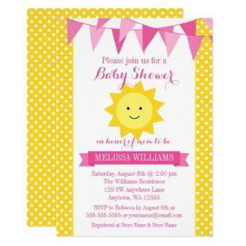 Little Sunshine Pink Yellow Bunting Baby Shower Invitation