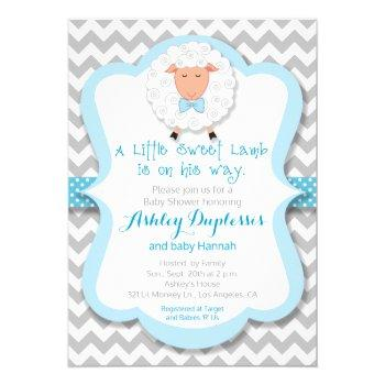 Little Sweet Lamb Boy Baby Shower Invitation