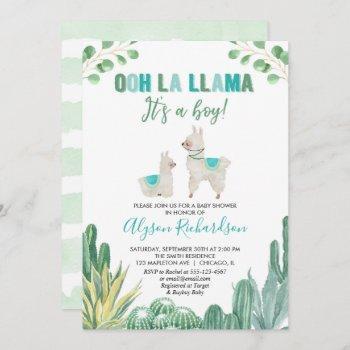 Llama And Cactus Boy Baby Shower