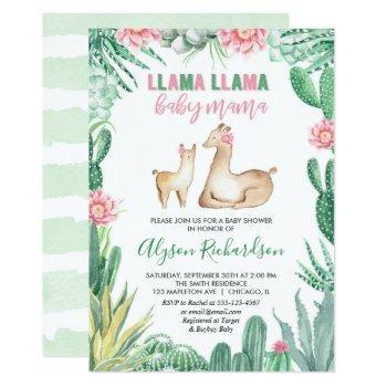 Llama Baby Shower Girl Invitation, Baby Mama Invitation