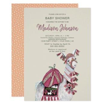 Llama   Baby Shower   Peach   Invitation