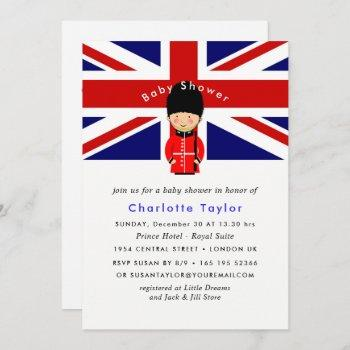 London Union Jack Theme Baby Shower Invitation