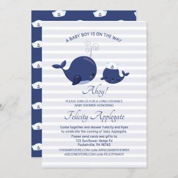 Long Distance Nautical Blue Whale Boy Baby Shower Invitation