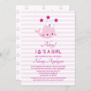 Long Distance Nautical Pink Whale Girl Baby Shower