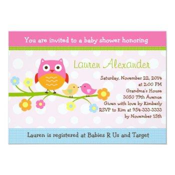 Love Birds & Owl On Branch Baby Shower Invitation