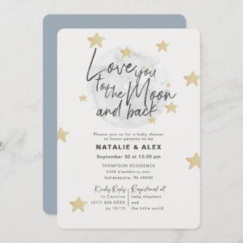 Love You Moon & Back Boy Baby Shower Invitation
