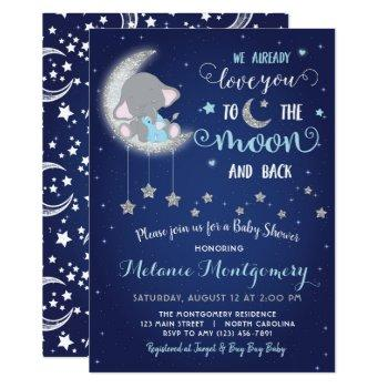 Love You The Moon And Back Baby Shower Invitation